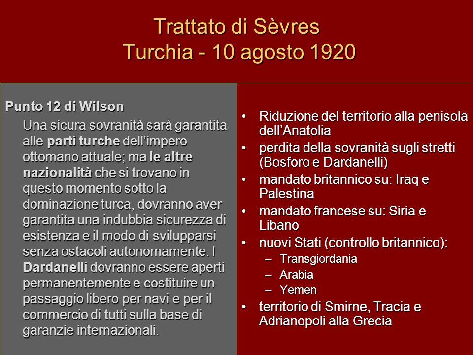 Trattato di Sèvres Turchia - 10 agosto 1920 Riduzione del territorio alla penisola dellAnatolia perdita della sovranità sugli stretti (Bosforo e Darda