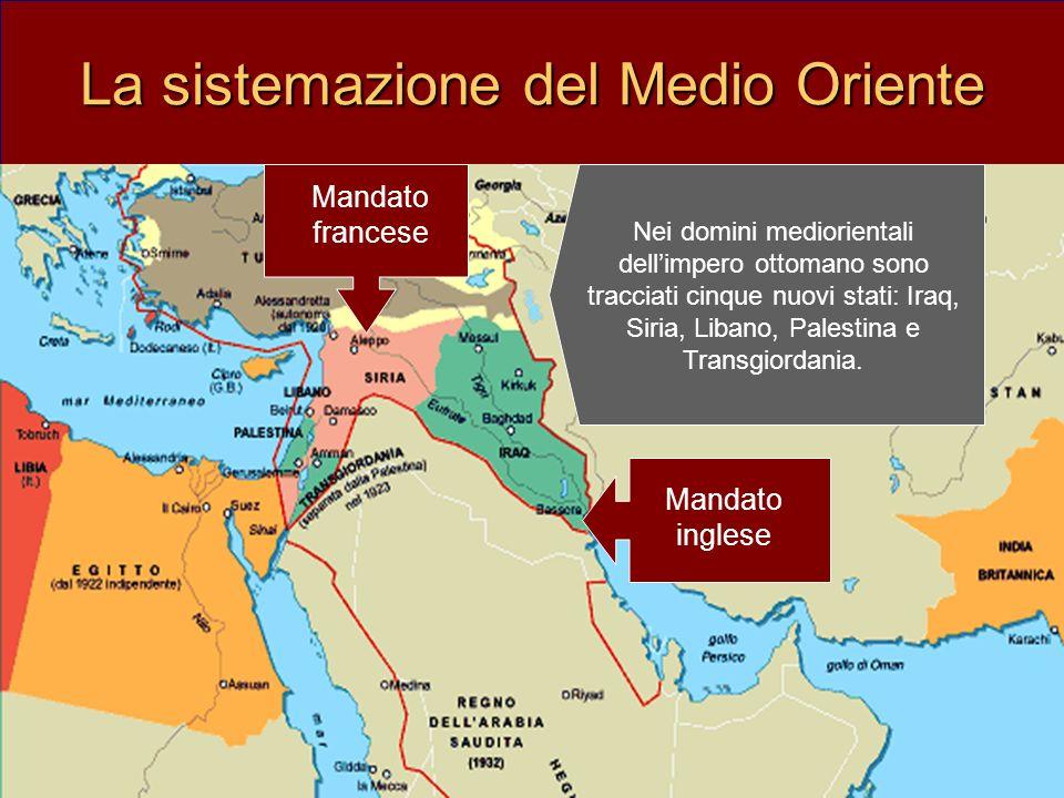 La sistemazione del Medio Oriente Nei domini mediorientali dellimpero ottomano sono tracciati cinque nuovi stati: Iraq, Siria, Libano, Palestina e Tra
