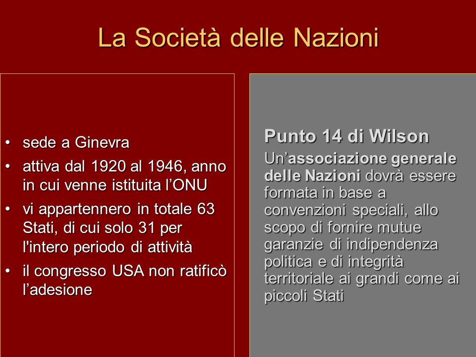 La Società delle Nazioni sede a Ginevra attiva dal 1920 al 1946, anno in cui venne istituita lONU vi appartennero in totale 63 Stati, di cui solo 31 p