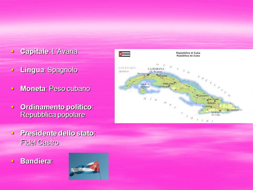Capitale: LAvana Capitale: LAvana Lingua: Spagnolo Lingua: Spagnolo Moneta: Peso cubano Moneta: Peso cubano Ordinamento politico: Repubblica popolare