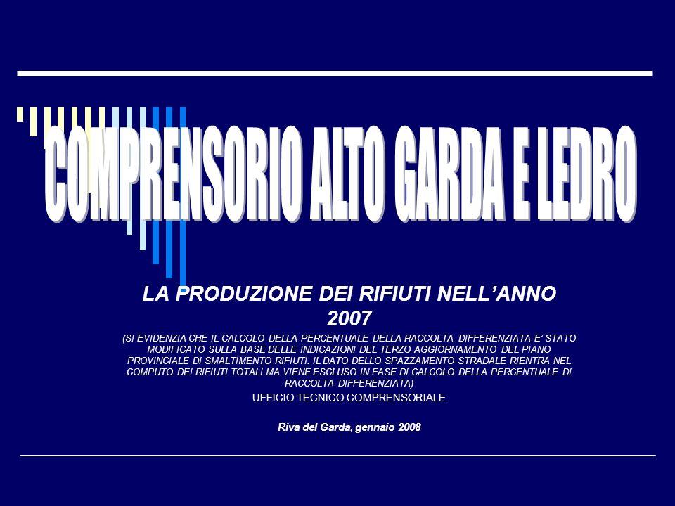 PRODUZIONE RIFIUTI COMUNE DI RIVA DEL GARDA ANNI 2005-2006-2007