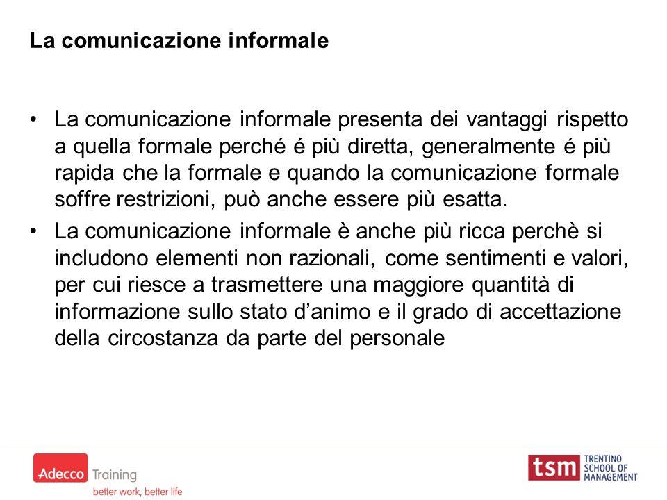 La comunicazione informale La comunicazione informale presenta dei vantaggi rispetto a quella formale perché é più diretta, generalmente é più rapida