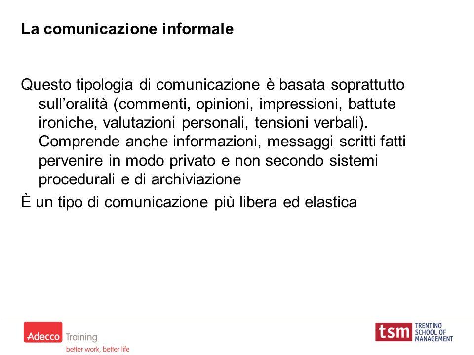 La comunicazione informale Questo tipologia di comunicazione è basata soprattutto sulloralità (commenti, opinioni, impressioni, battute ironiche, valu