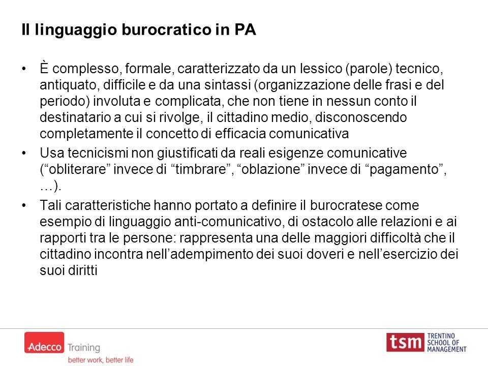 Il linguaggio burocratico in PA È complesso, formale, caratterizzato da un lessico (parole) tecnico, antiquato, difficile e da una sintassi (organizza