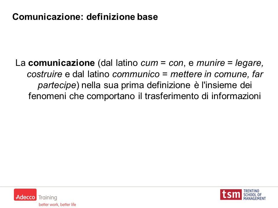 Comunicazione: definizione base La comunicazione (dal latino cum = con, e munire = legare, costruire e dal latino communico = mettere in comune, far p