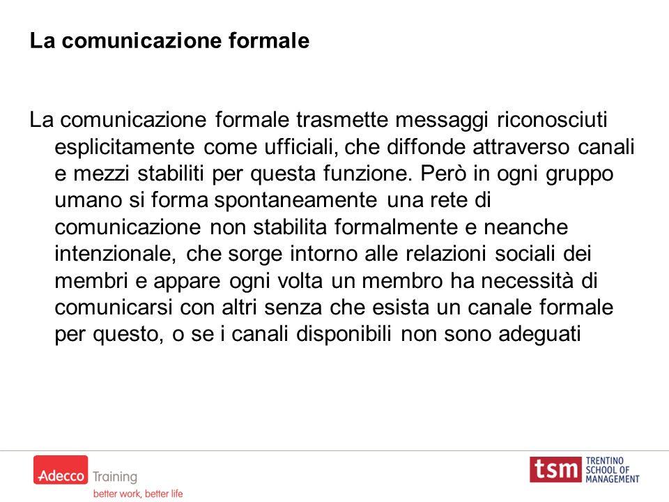La comunicazione formale La comunicazione formale trasmette messaggi riconosciuti esplicitamente come ufficiali, che diffonde attraverso canali e mezz