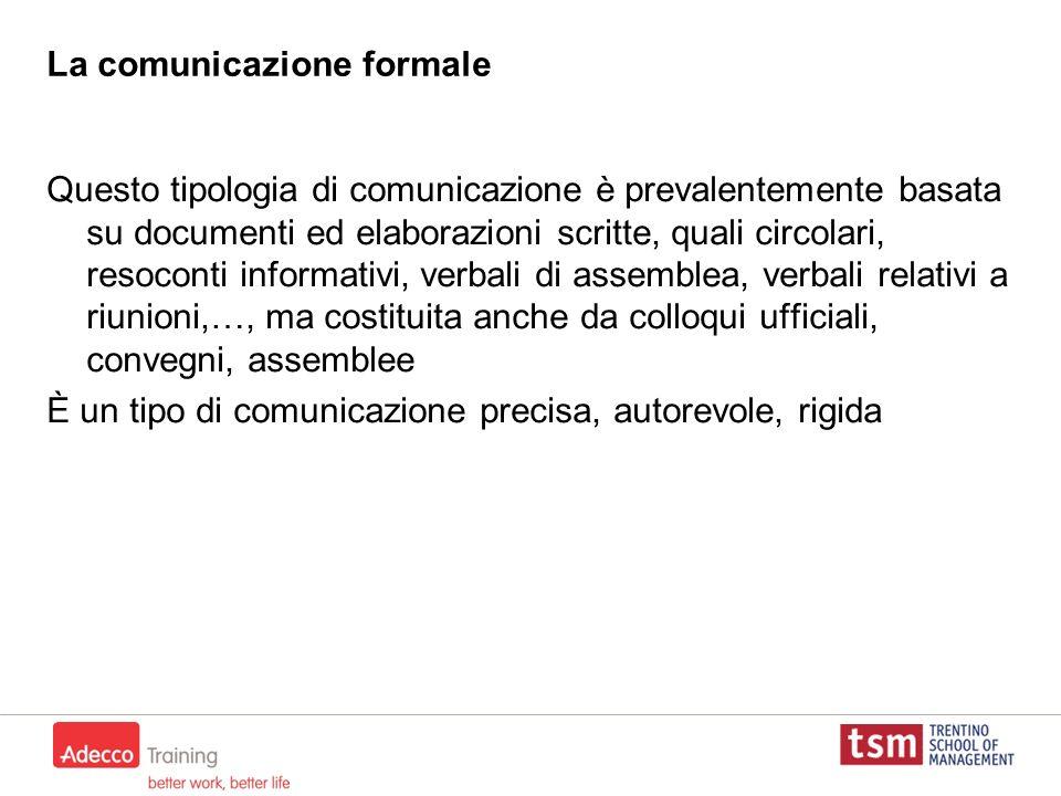 La comunicazione formale Questo tipologia di comunicazione è prevalentemente basata su documenti ed elaborazioni scritte, quali circolari, resoconti i