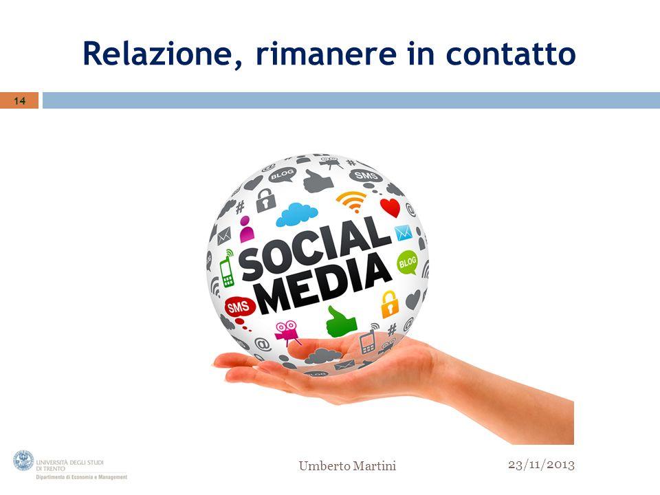 Relazione, rimanere in contatto 14 23/11/2013 Umberto Martini