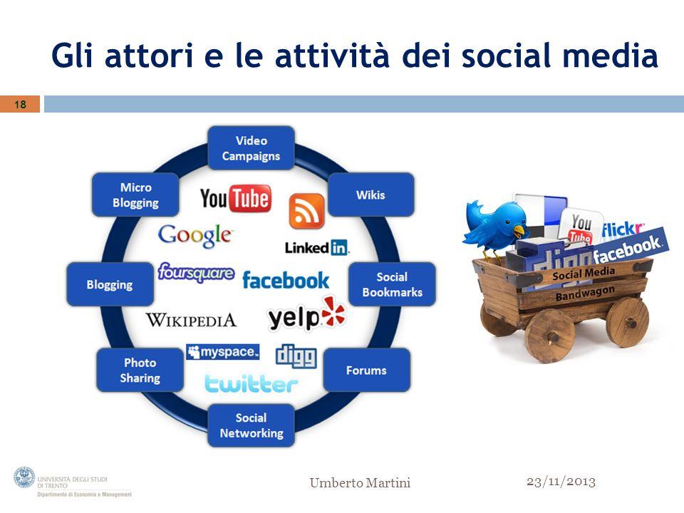 Gli attori e le attività dei social media 18 23/11/2013 Umberto Martini