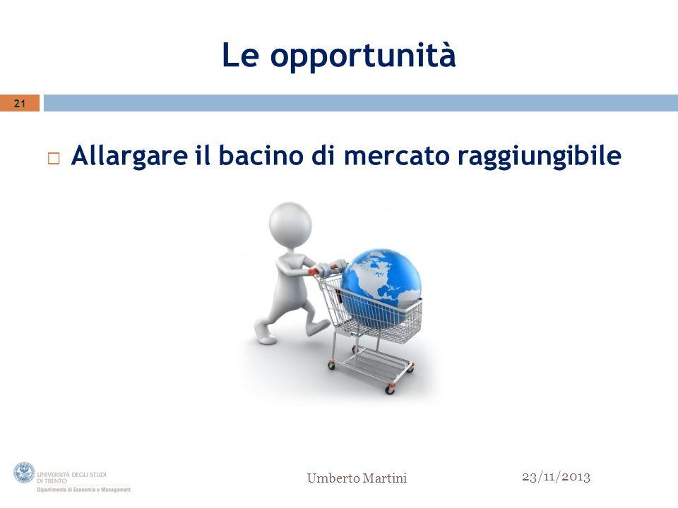 Le opportunità Allargare il bacino di mercato raggiungibile 21 23/11/2013 Umberto Martini
