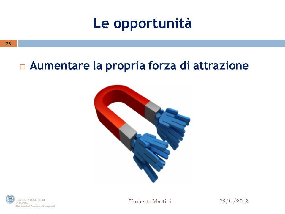 Le opportunità Aumentare la propria forza di attrazione 23 23/11/2013 Umberto Martini