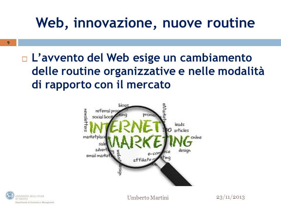 Web, innovazione, nuove routine Lavvento del Web esige un cambiamento delle routine organizzative e nelle modalità di rapporto con il mercato 9 23/11/2013 Umberto Martini