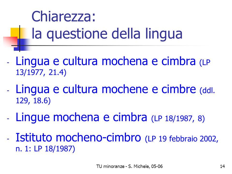 TU minoranze - S. Michele, 05-0614 Chiarezza: la questione della lingua - Lingua e cultura mochena e cimbra (LP 13/1977, 21.4) - Lingua e cultura moch
