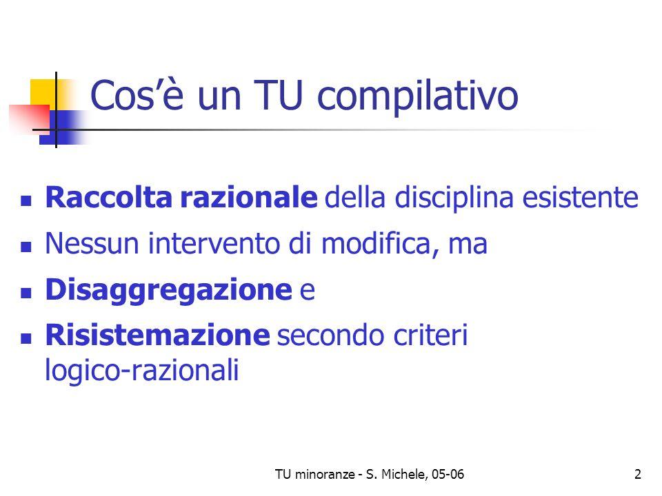 TU minoranze - S. Michele, 05-062 Cosè un TU compilativo Raccolta razionale della disciplina esistente Nessun intervento di modifica, ma Disaggregazio