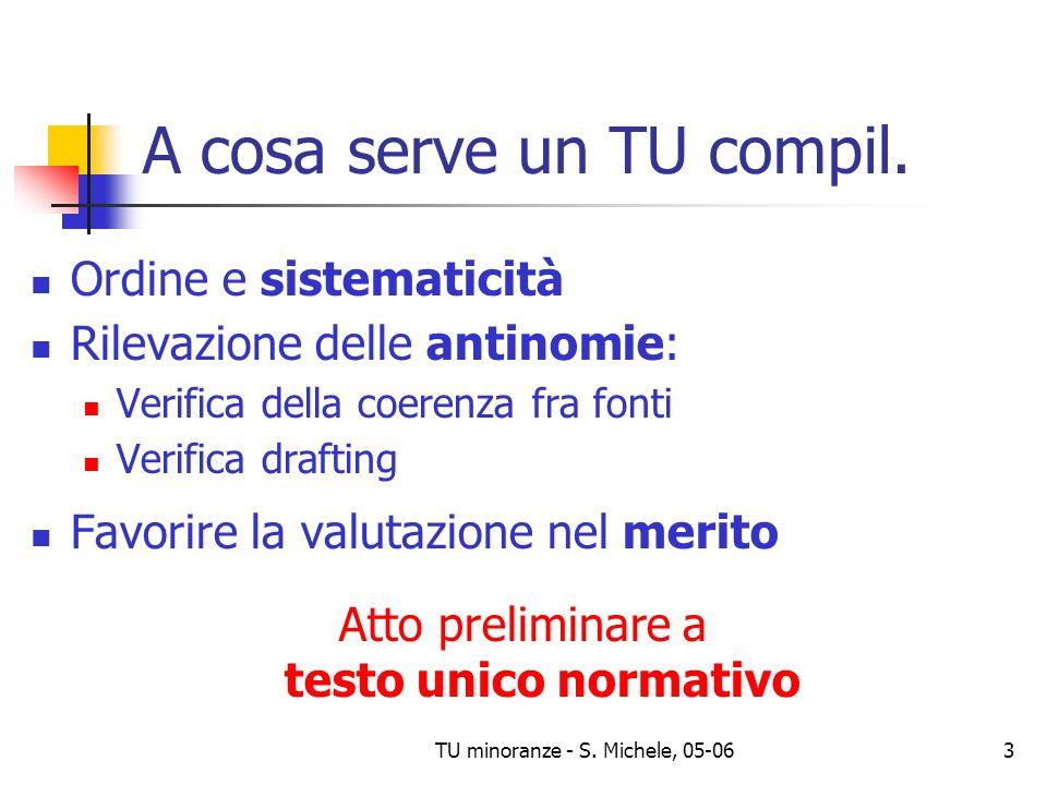 TU minoranze - S. Michele, 05-063 A cosa serve un TU compil. Ordine e sistematicità Rilevazione delle antinomie: Verifica della coerenza fra fonti Ver