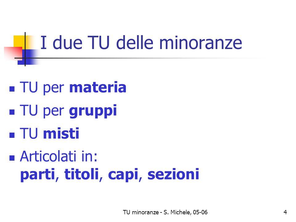 TU minoranze - S. Michele, 05-064 I due TU delle minoranze TU per materia TU per gruppi TU misti Articolati in: parti, titoli, capi, sezioni