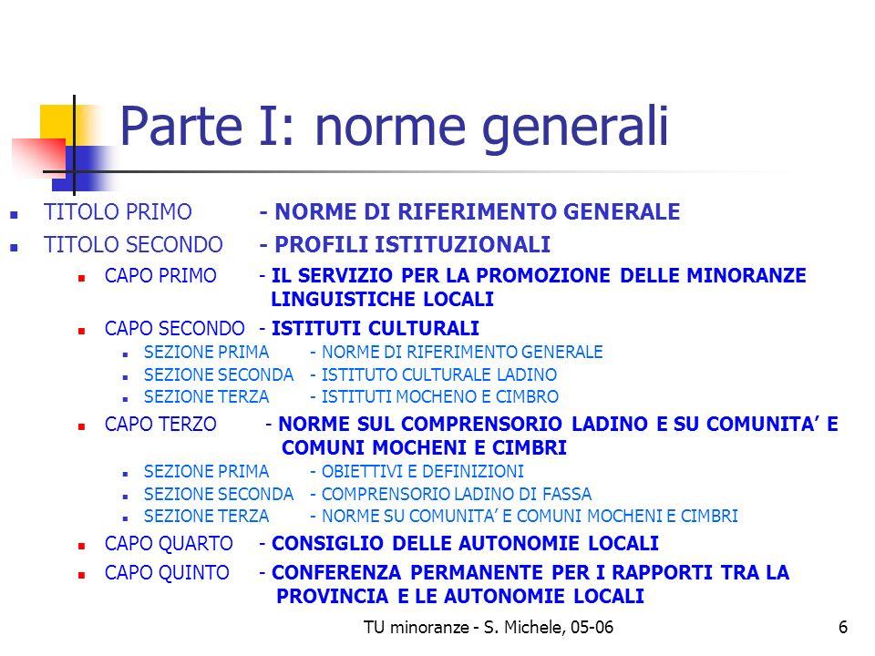 TU minoranze - S. Michele, 05-066 Parte I: norme generali TITOLO PRIMO - NORME DI RIFERIMENTO GENERALE TITOLO SECONDO - PROFILI ISTITUZIONALI CAPO PRI