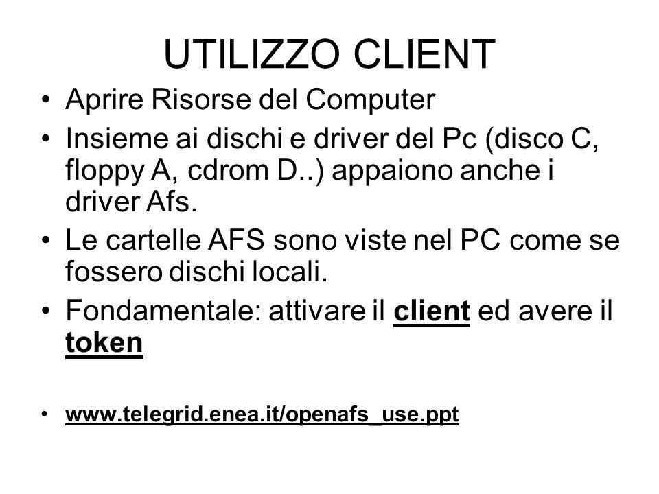 UTILIZZO CLIENT Aprire Risorse del Computer Insieme ai dischi e driver del Pc (disco C, floppy A, cdrom D..) appaiono anche i driver Afs.