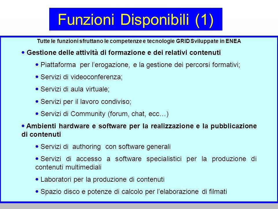 Scuolambiente – Catania 30 Marzo 2007 Stefano Gazziano – Dip. Fisica e Materiali Funzioni Disponibili (1) Tutte le funzioni sfruttano le competenze e