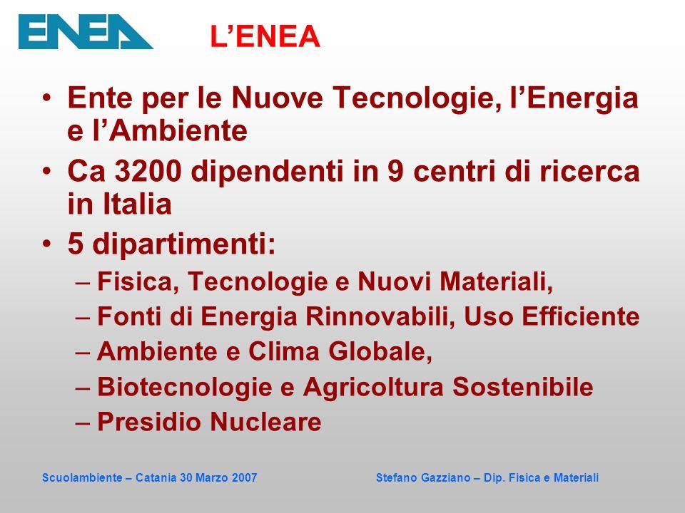 Scuolambiente – Catania 30 Marzo 2007 Stefano Gazziano – Dip. Fisica e Materiali Ente per le Nuove Tecnologie, lEnergia e lAmbiente Ca 3200 dipendenti