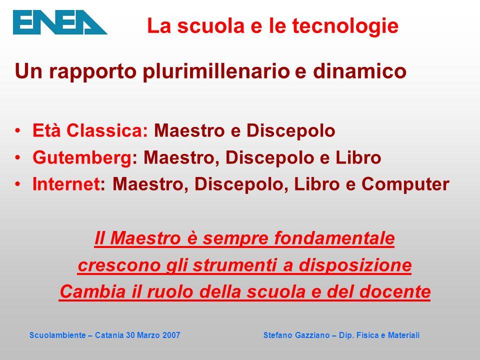 Scuolambiente – Catania 30 Marzo 2007 Stefano Gazziano – Dip. Fisica e Materiali Un rapporto plurimillenario e dinamico Età Classica: Maestro e Discep