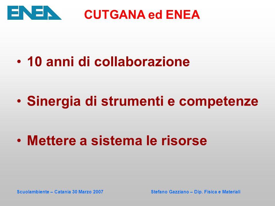 Scuolambiente – Catania 30 Marzo 2007 Stefano Gazziano – Dip. Fisica e Materiali 10 anni di collaborazione Sinergia di strumenti e competenze Mettere