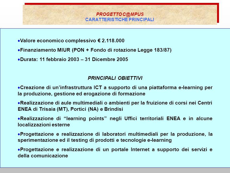 PROGETTO C@MPUS CARATTERISTICHE PRINCIPALI PROGETTO C@MPUS CARATTERISTICHE PRINCIPALI Valore economico complessivo 2.118.000 Finanziamento MIUR (PON + Fondo di rotazione Legge 183/87) Durata: 11 febbraio 2003 – 31 Dicembre 2005 PRINCIPALI OBIETTIVI Creazione di uninfrastruttura ICT a supporto di una piattaforma e-learning per la produzione, gestione ed erogazione di formazione Realizzazione di aule multimediali o ambienti per la fruizione di corsi nei Centri ENEA di Trisaia (MT), Portici (NA) e Brindisi Realizzazione di learning points negli Uffici territoriali ENEA e in alcune localizzazioni esterne Progettazione e realizzazione di laboratori multimediali per la produzione, la sperimentazione ed il testing di prodotti e tecnologie e-learning Progettazione e realizzazione di un portale Internet a supporto dei servizi e della comunicazione