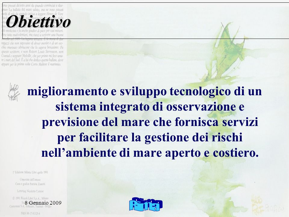 8 Gennaio 2009 Verso un compliant IS INSPIRE discovery services view services download services transformation services services allowing spatial data services to be invoked OGC /ISO Common Metadata model Common Data model (?) Common vocabularies Web services Formats Catalogs