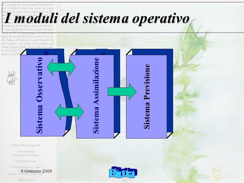 8 Gennaio 2009 Sistema Osservativo I moduli del sistema operativo Sistema Osservativo Sistema Assimilazione Sistema Previsione Sistema Assimilazione Sistema Previsione