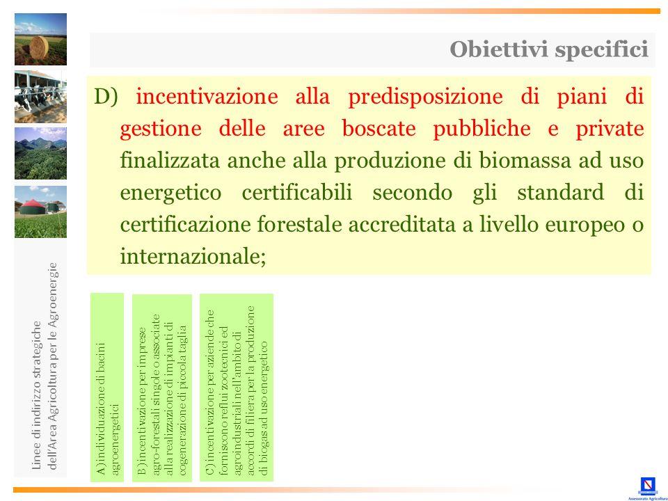 Linee di indirizzo strategiche dellArea Agricoltura per le Agroenergie D) incentivazione alla predisposizione di piani di gestione delle aree boscate