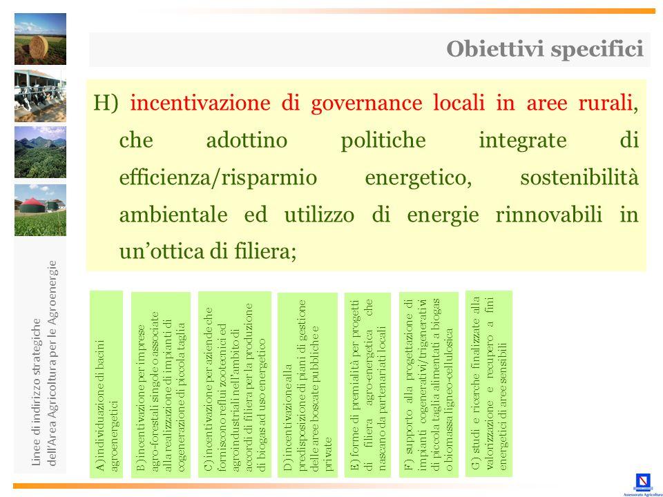 Linee di indirizzo strategiche dellArea Agricoltura per le Agroenergie H) incentivazione di governance locali in aree rurali, che adottino politiche i