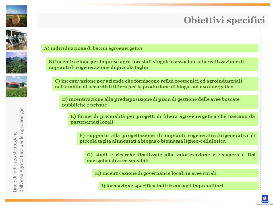 Linee di indirizzo strategiche dellArea Agricoltura per le Agroenergie Obiettivi specifici A) individuazione di bacini agroenergetici B) incentivazion