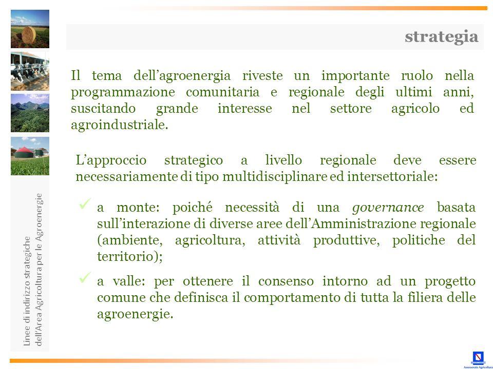 Linee di indirizzo strategiche dellArea Agricoltura per le Agroenergie Il tema dellagroenergia riveste un importante ruolo nella programmazione comuni