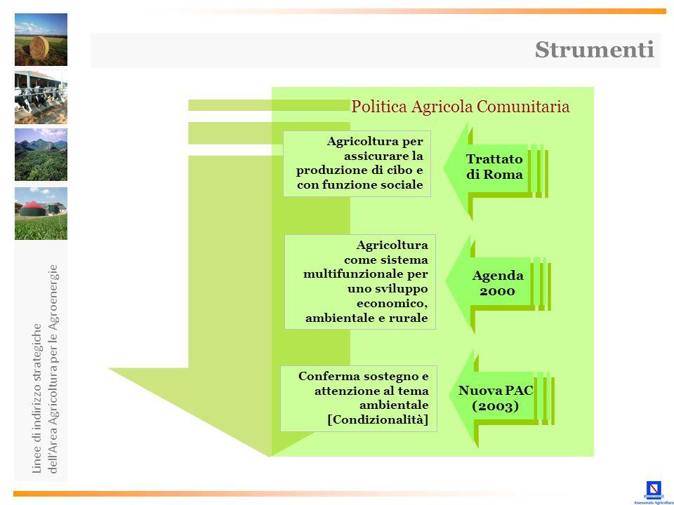 Linee di indirizzo strategiche dellArea Agricoltura per le Agroenergie Agricoltura per assicurare la produzione di cibo e con funzione sociale Agricol