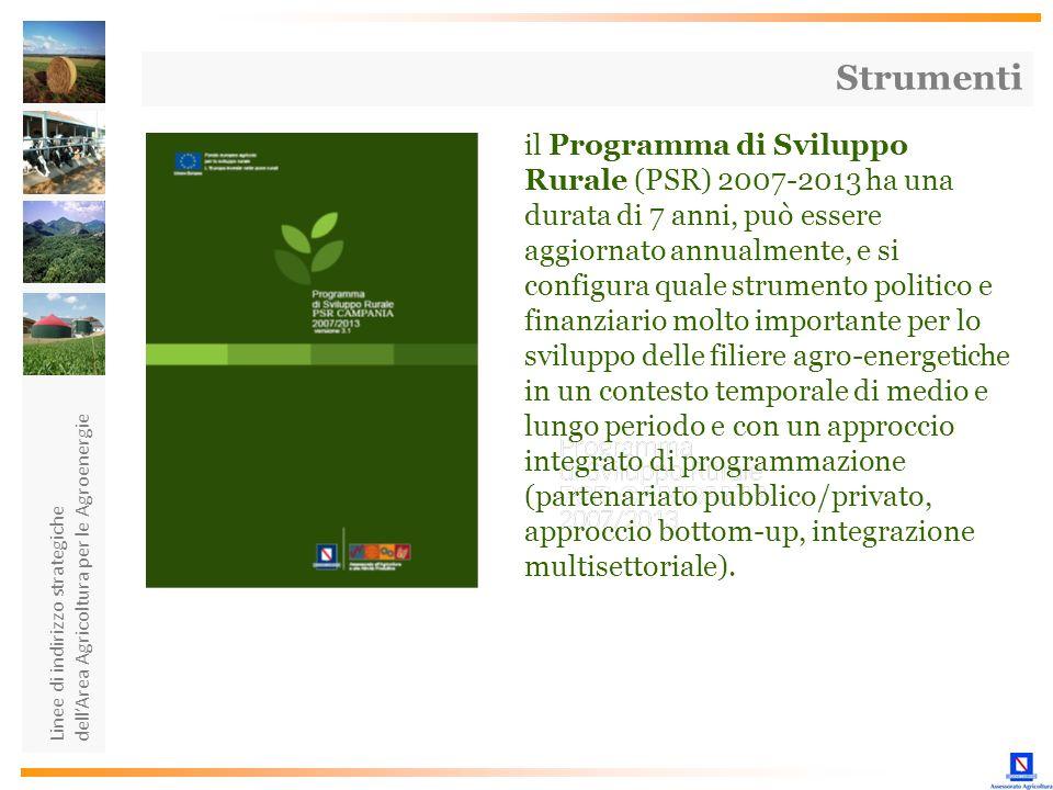 Linee di indirizzo strategiche dellArea Agricoltura per le Agroenergie Strumenti il Programma di Sviluppo Rurale (PSR) 2007-2013 ha una durata di 7 an