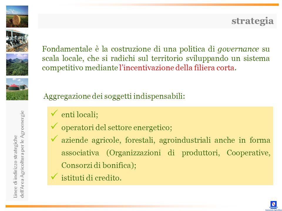 Linee di indirizzo strategiche dellArea Agricoltura per le Agroenergie Fondamentale è la costruzione di una politica di governance su scala locale, ch