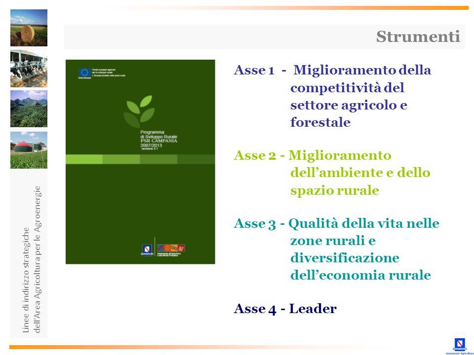 Linee di indirizzo strategiche dellArea Agricoltura per le Agroenergie Asse 1 - Miglioramento della competitività del settore agricolo e forestale Ass