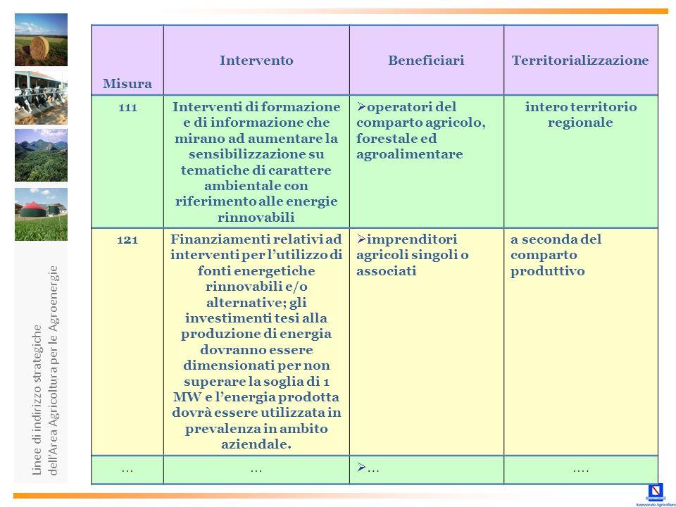 Linee di indirizzo strategiche dellArea Agricoltura per le Agroenergie Misura InterventoBeneficiariTerritorializzazione 111Interventi di formazione e