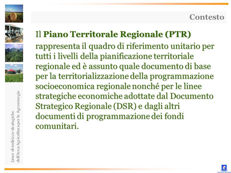 Linee di indirizzo strategiche dellArea Agricoltura per le Agroenergie Il Piano Territorale Regionale (PTR) rappresenta il quadro di riferimento unita