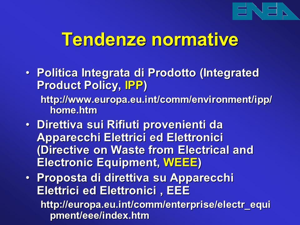 Tendenze normative Politica Integrata di Prodotto (Integrated Product Policy,IPP)Politica Integrata di Prodotto (Integrated Product Policy, IPP) http: