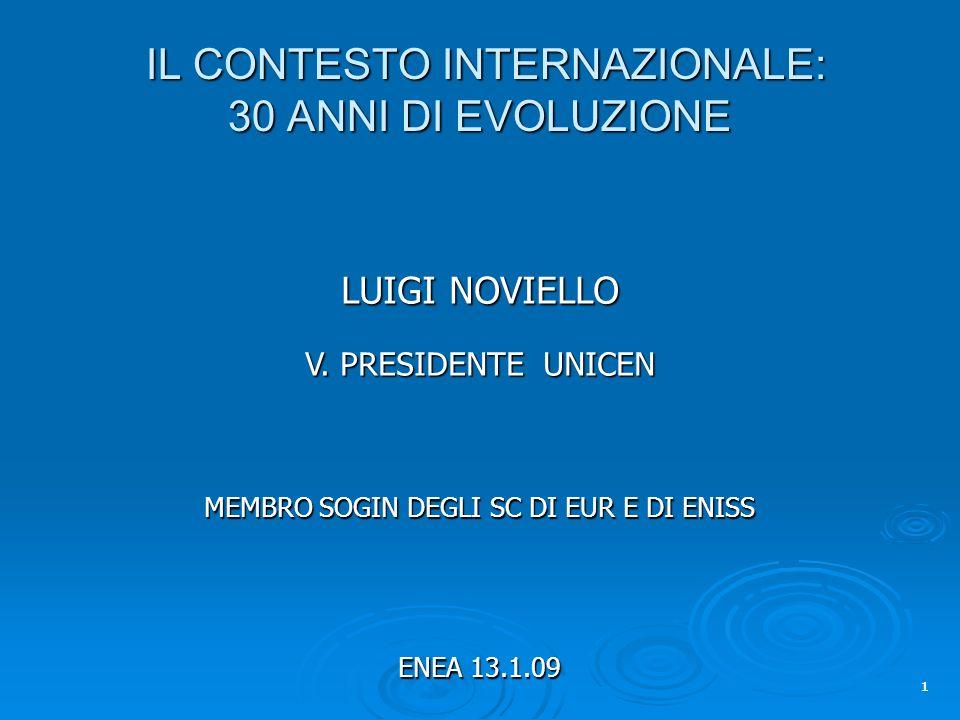 1 IL CONTESTO INTERNAZIONALE: 30 ANNI DI EVOLUZIONE IL CONTESTO INTERNAZIONALE: 30 ANNI DI EVOLUZIONE LUIGI NOVIELLO V.