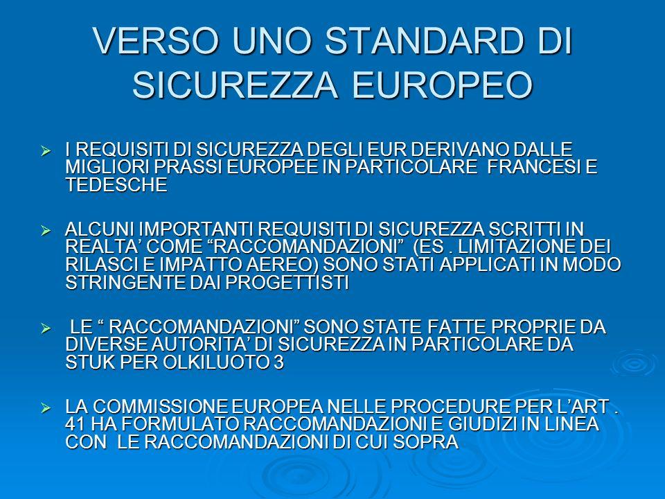 VERSO UNO STANDARD DI SICUREZZA EUROPEO I REQUISITI DI SICUREZZA DEGLI EUR DERIVANO DALLE MIGLIORI PRASSI EUROPEE IN PARTICOLARE FRANCESI E TEDESCHE I REQUISITI DI SICUREZZA DEGLI EUR DERIVANO DALLE MIGLIORI PRASSI EUROPEE IN PARTICOLARE FRANCESI E TEDESCHE ALCUNI IMPORTANTI REQUISITI DI SICUREZZA SCRITTI IN REALTA COME RACCOMANDAZIONI (ES.