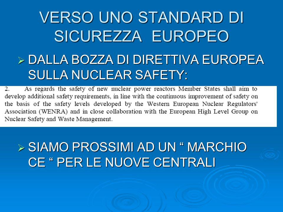 VERSO UNO STANDARD DI SICUREZZA EUROPEO DALLA BOZZA DI DIRETTIVA EUROPEA SULLA NUCLEAR SAFETY: DALLA BOZZA DI DIRETTIVA EUROPEA SULLA NUCLEAR SAFETY: SIAMO PROSSIMI AD UN MARCHIO CE PER LE NUOVE CENTRALI SIAMO PROSSIMI AD UN MARCHIO CE PER LE NUOVE CENTRALI