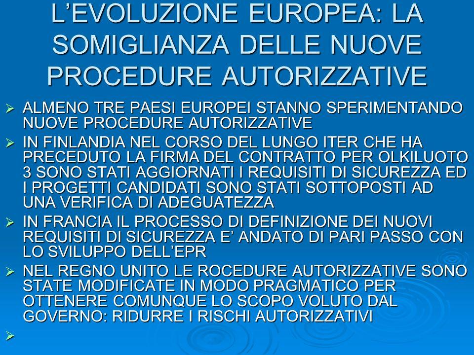 LEVOLUZIONE EUROPEA: LA SOMIGLIANZA DELLE NUOVE PROCEDURE AUTORIZZATIVE ALMENO TRE PAESI EUROPEI STANNO SPERIMENTANDO NUOVE PROCEDURE AUTORIZZATIVE ALMENO TRE PAESI EUROPEI STANNO SPERIMENTANDO NUOVE PROCEDURE AUTORIZZATIVE IN FINLANDIA NEL CORSO DEL LUNGO ITER CHE HA PRECEDUTO LA FIRMA DEL CONTRATTO PER OLKILUOTO 3 SONO STATI AGGIORNATI I REQUISITI DI SICUREZZA ED I PROGETTI CANDIDATI SONO STATI SOTTOPOSTI AD UNA VERIFICA DI ADEGUATEZZA IN FINLANDIA NEL CORSO DEL LUNGO ITER CHE HA PRECEDUTO LA FIRMA DEL CONTRATTO PER OLKILUOTO 3 SONO STATI AGGIORNATI I REQUISITI DI SICUREZZA ED I PROGETTI CANDIDATI SONO STATI SOTTOPOSTI AD UNA VERIFICA DI ADEGUATEZZA IN FRANCIA IL PROCESSO DI DEFINIZIONE DEI NUOVI REQUISITI DI SICUREZZA E ANDATO DI PARI PASSO CON LO SVILUPPO DELLEPR IN FRANCIA IL PROCESSO DI DEFINIZIONE DEI NUOVI REQUISITI DI SICUREZZA E ANDATO DI PARI PASSO CON LO SVILUPPO DELLEPR NEL REGNO UNITO LE ROCEDURE AUTORIZZATIVE SONO STATE MODIFICATE IN MODO PRAGMATICO PER OTTENERE COMUNQUE LO SCOPO VOLUTO DAL GOVERNO: RIDURRE I RISCHI AUTORIZZATIVI NEL REGNO UNITO LE ROCEDURE AUTORIZZATIVE SONO STATE MODIFICATE IN MODO PRAGMATICO PER OTTENERE COMUNQUE LO SCOPO VOLUTO DAL GOVERNO: RIDURRE I RISCHI AUTORIZZATIVI