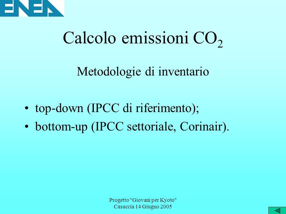 Progetto Giovani per Kyoto Casaccia 14 Giugno 2005 Calcolo emissioni CO 2 Metodologie di inventario top-down (IPCC di riferimento); bottom-up (IPCC settoriale, Corinair).