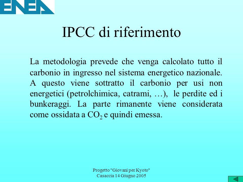 Progetto Giovani per Kyoto Casaccia 14 Giugno 2005 IPCC di riferimento La metodologia prevede che venga calcolato tutto il carbonio in ingresso nel sistema energetico nazionale.