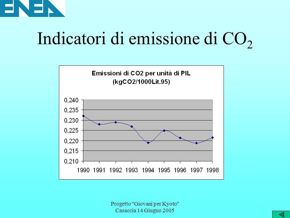 Progetto Giovani per Kyoto Casaccia 14 Giugno 2005 Indicatori di emissione di CO 2