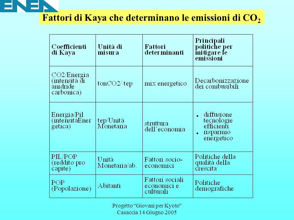 Progetto Giovani per Kyoto Casaccia 14 Giugno 2005 Fattori di Kaya che determinano le emissioni di CO 2