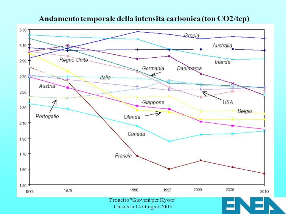 Progetto Giovani per Kyoto Casaccia 14 Giugno 2005 Andamento temporale della intensità carbonica (ton CO2/tep)