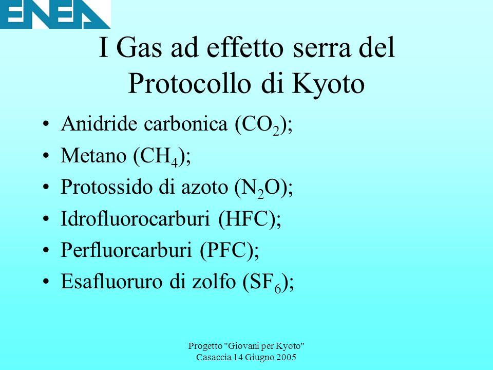 Progetto Giovani per Kyoto Casaccia 14 Giugno 2005 I Gas ad effetto serra del Protocollo di Kyoto Anidride carbonica (CO 2 ); Metano (CH 4 ); Protossido di azoto (N 2 O); Idrofluorocarburi (HFC); Perfluorcarburi (PFC); Esafluoruro di zolfo (SF 6 );